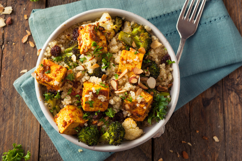Homemade Quinoa Tofu Bowl with Roasted Veggies and Herbs
