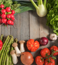 Healthy fresh vegetables on rustic wood for a nutritional concept